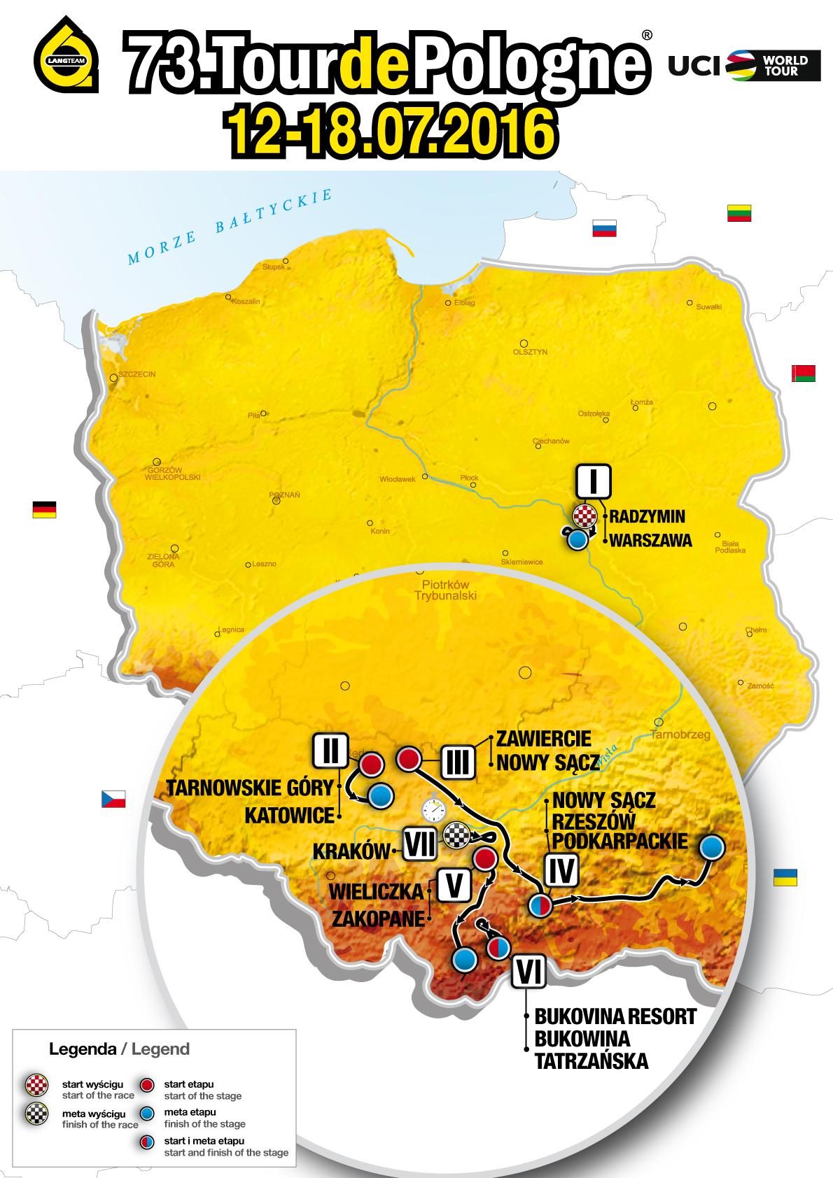 Mapa Tour de Pologne 2016
