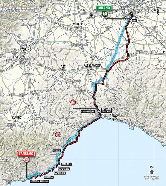 Mapa Mediolan San Remo 2015