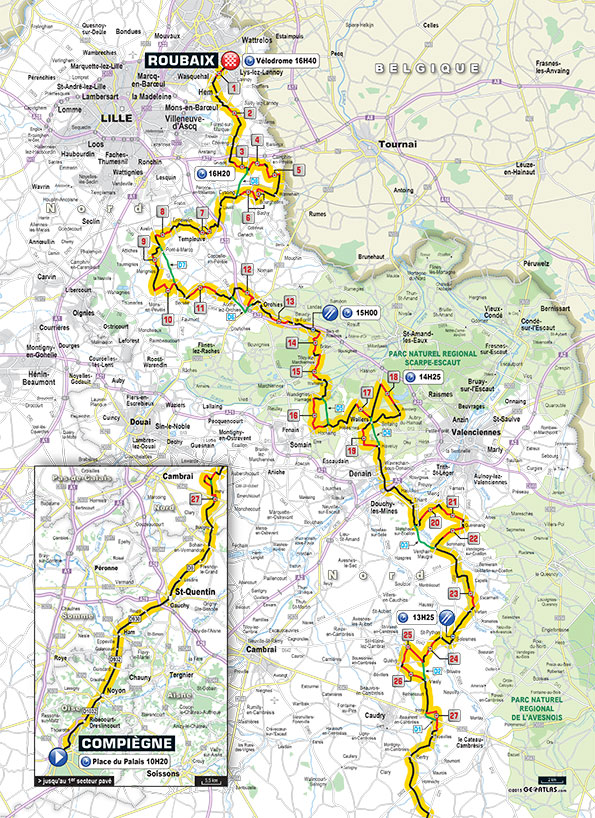 Paris Roubaix mapa
