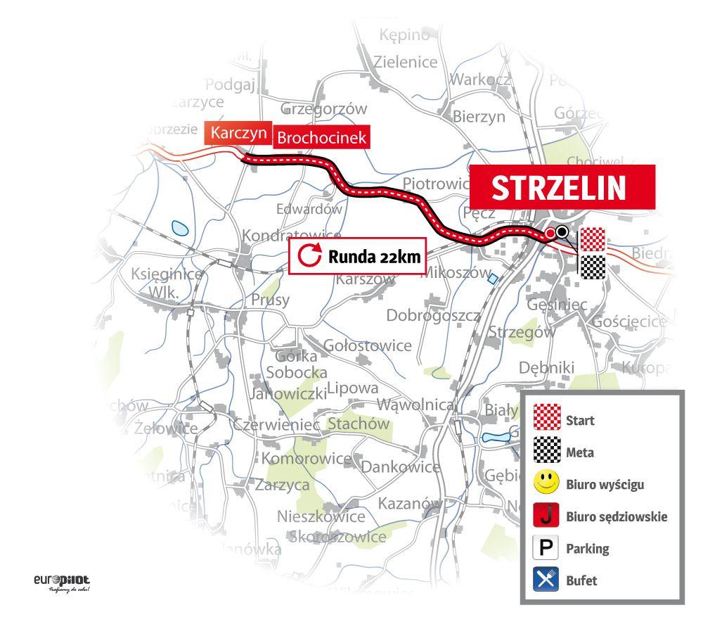 Mapa Mistrzostwa Polski w kolarstwie szosowym 2015 - jazda na czas