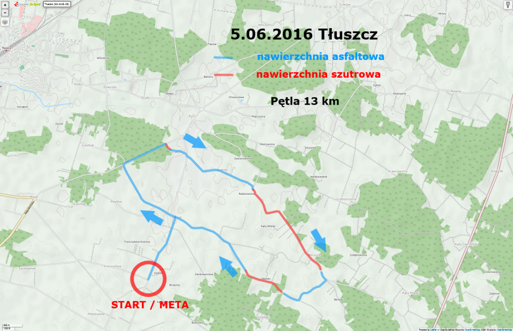 Mapa Kross Road Tour 2016 - Tłuszcz
